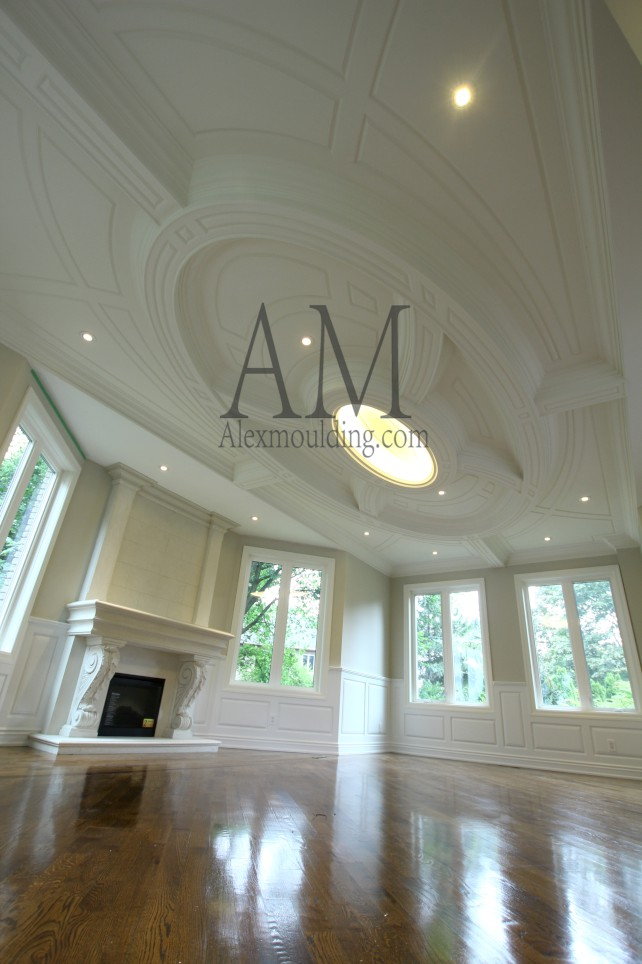 square patterned coffered ceiling