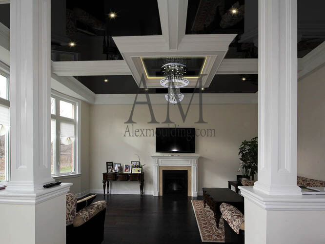 box coffered ceiling with beams