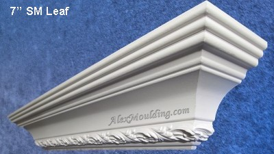 7 inch Leaf dentil crown moulding