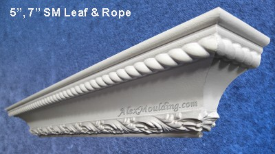Rope & Leaf dentil crown moulding
