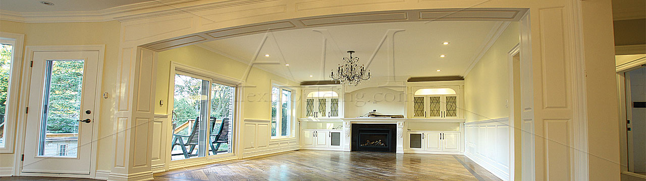Custom millwork wainscot paneling coffered waffle for Decorative archway mouldings
