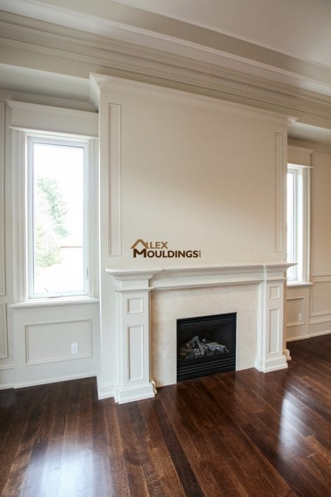 wainscoting and fireplace mantel