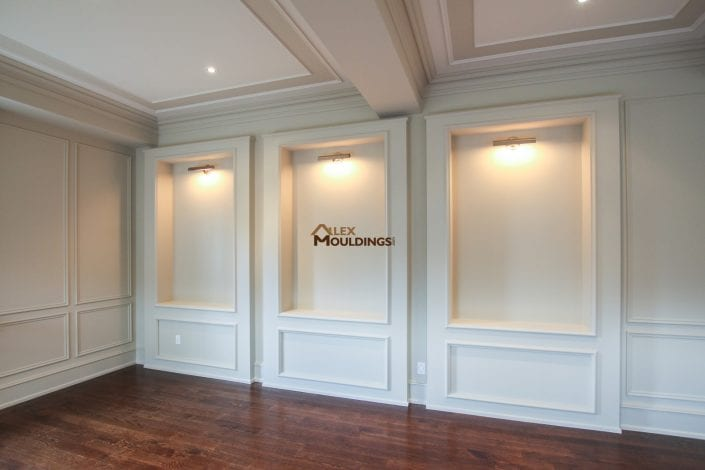 niches designed with lighting and appliques