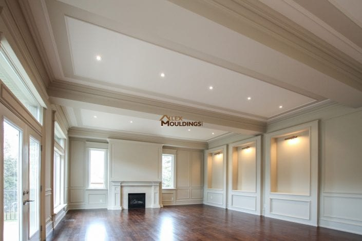 living room designed with ceiling and wall trims