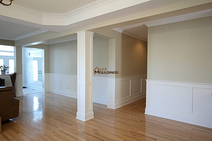 half wall wainscoting in a basement