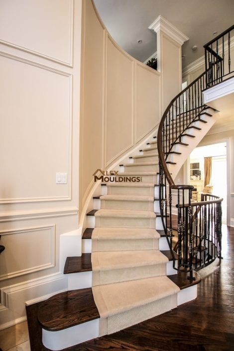 Stairs up wall trim design