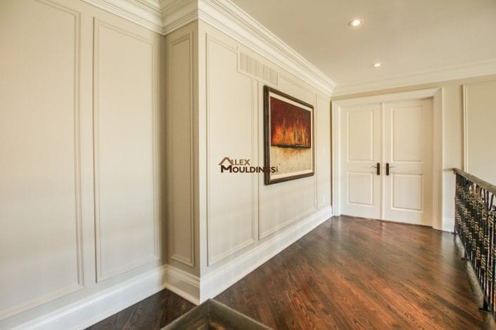 Beautiful wall details achieved with trims and crown mouldings