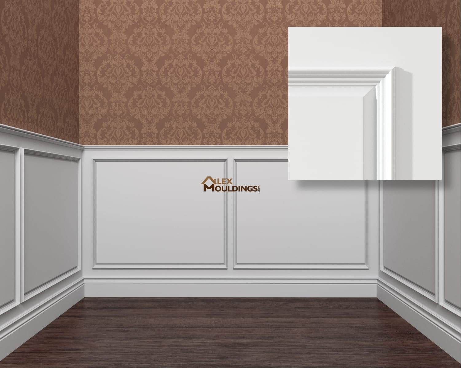 Raised panel 1+140 wainscoting